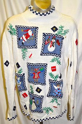 Vintage Christmas Sweater Snowman & Santa Design Large