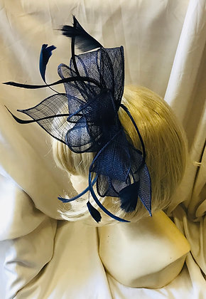 Ribbon with Feathers Navy Blue Fancy Fascinator