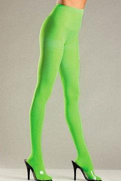 Opaque Nylon Pantyhose Lime Green