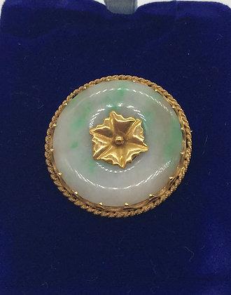 Antique Green Jade Set in 22k Yellow Gold Brooch