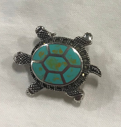 Vintage Sterling with Turquoise & Marcasites Turtle Brooch Pin