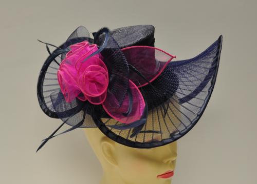 Fancy Navy Blue and Fuchsia Hat Style Fascinator
