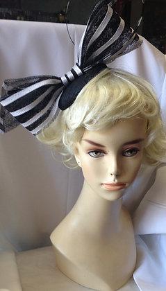 Fancy Black & White Bow Fascinator