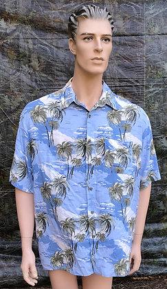 Vintage Hawaiian Aloha Luau Shirt Blue, White and Green XL