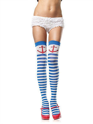 Anchor Away Striped Thigh Highs