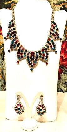 Multi Colour Fancy Design Necklace and Earrings Set