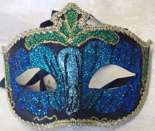Sparkle Masquerade Mask Blue and Green