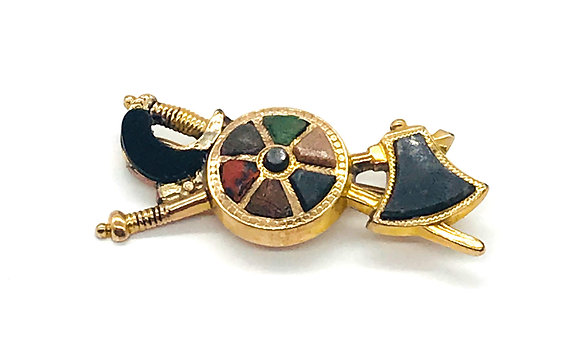 Vintage 9k Gold Sword and Axe with Gemstones Brooch Pin