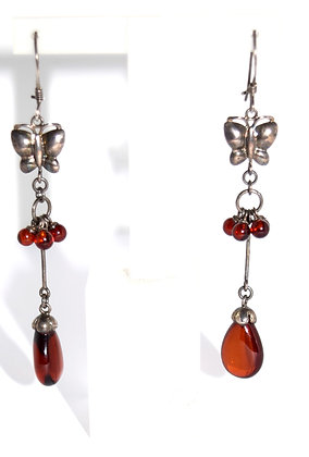 Teardrop Cherry Amber and Silver Earrings