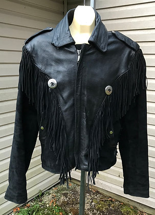 Vintage PLG Black Suede and Leather with Fringe Western Jacket