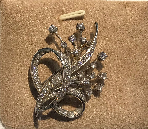 10K White Gold Fancy Style Brooch Pin with Diamonds