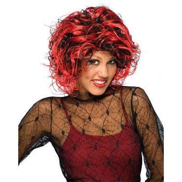 Temptation Theatrical Wig Red & Black
