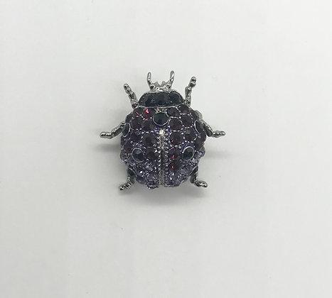 Ladybug Brooch Pin Purple & Black Rhinestones