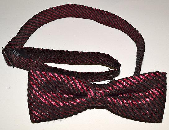 Vintage Hand Made Clip Bow Tie Light Blue Black