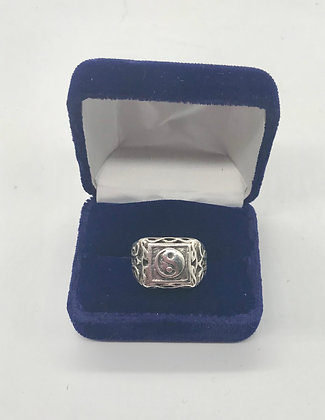 Men's Silver Yin and Yang Ring Size 12