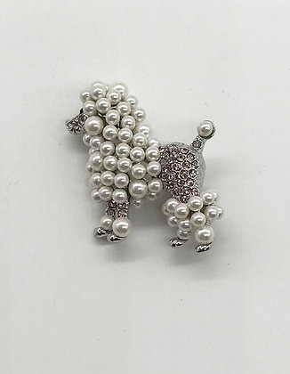 Puddle Dog Brooch Pin With Clear Rhinestones & Costume Pearls