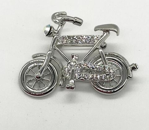 Bicycle Brooch Pin Clear Rhinestones