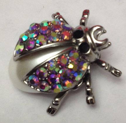 Ladybug Brooch Pin AB & Costume Pearl