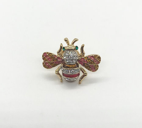 Bumble Bee Brooch Pin with Rhinestones
