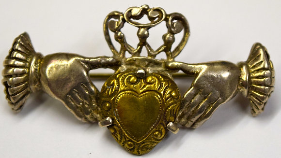 Vintage Irish Claddagh Sterling Silver Brooch Pin