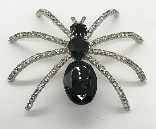 Large Spider Brooch Clear& Black Rhinestones