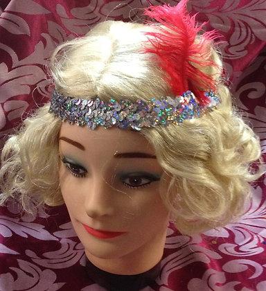 Silver Sequin Flapper Headband Ostrich Feather
