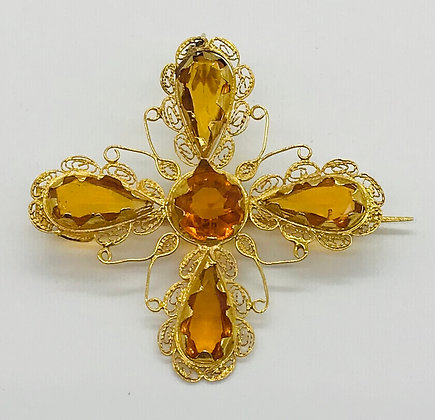 Hand-Made 18k Yellow Gold with Yellow Topaz Brooch Pin and Pendant
