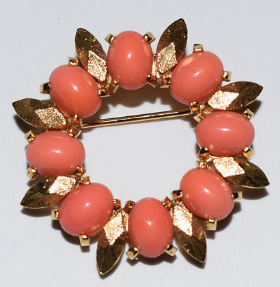 Floral Brooch Pin Coral Colour