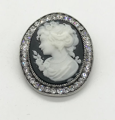 Costume Black Cameo Brooch Pin with Clear Rhinestones