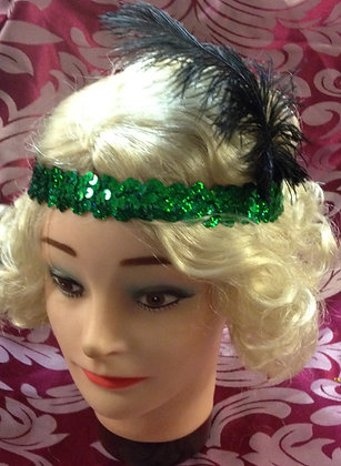Green Sequin Flapper Headband with Ostrach Feather