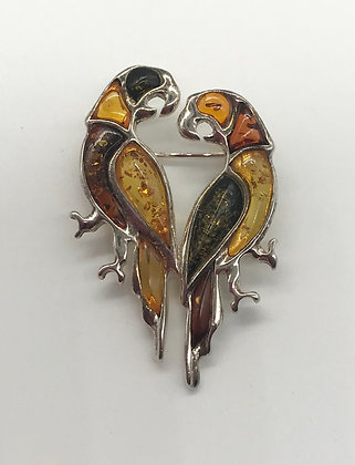Baltic Amber with Silver Pair of Parrot Birds Brooch Pin