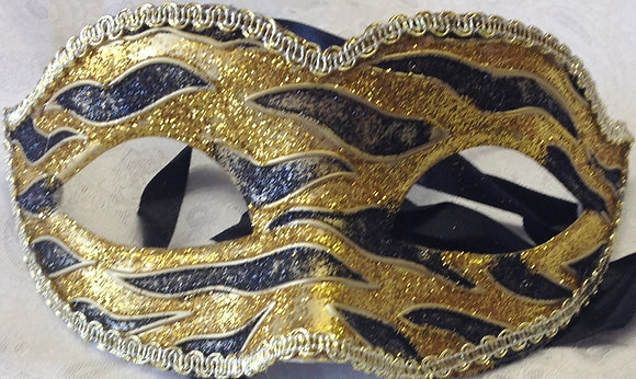 Sparkle Flame Masquerade Mask Black and Gold