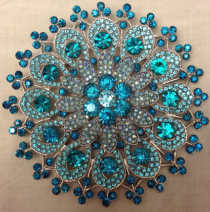 Large Floral Brooch Pin and Pendant Turquoise