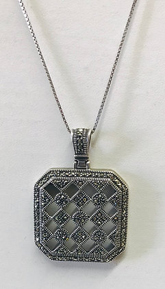 Vintage Square Shape Marcasite Set in Silver Pendant