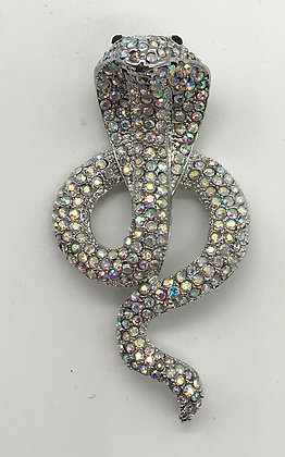 Cobra Brooch with Aurora Boreal Rhinestones