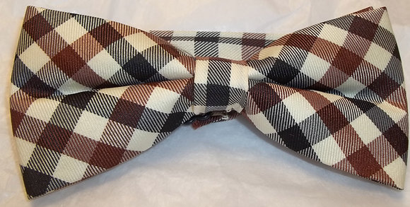 Plaid Bow Tie Beige, Brown and Black