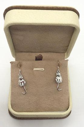 Cat Silver Earrings