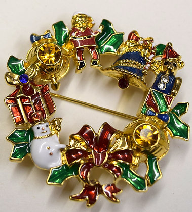 Christmas Wreath Brooch Pin & Pendant Signed NRT