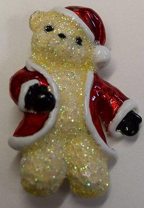 Vintage Christmas Santa Bear Brooch Pin