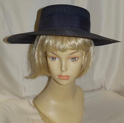 Vintage Toppers Navy Blue Wide Brim Fancy Summer Hat