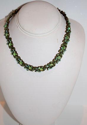 Creations Georgianni Handmade Swarovski Floral Design Collarbone Necklace Green