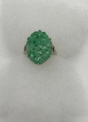 Vintage Carved Floral Design Green Jade set in 14K White Gold Size 7