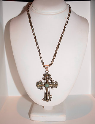 Antique Victorian Cross Pendant with Necklace