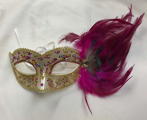 Fancy Masquerade Mask with Side Feathers Beige & Fuchsia