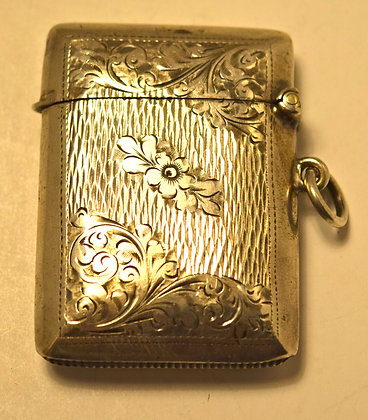 Antique William Henry Sparrow Sterling Silver Matches Box with Floral Design