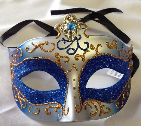 Decorative Masquerade Mask Blue & Gold