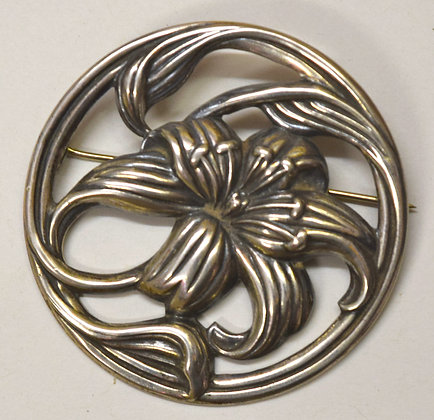 Antique Danecraft Sterling Silver Floral Brooch Pin