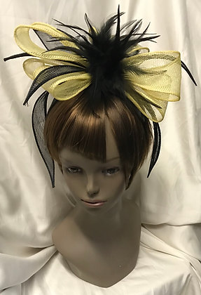 Fancy Yellow & Black with Feathers Design Fascinator