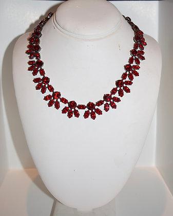 Creations Georgianni Handmade Swarovski Floral Collarbone Necklace Red