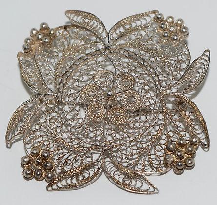 Antique Silver Filigree Floral Brooch Pin